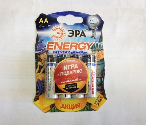 Батарейка AA (LR6) алкалиновая Эра Energy LR6-4BL, 1.5В, 4шт, в подарок сертификат на 1 игру от alawar.ru