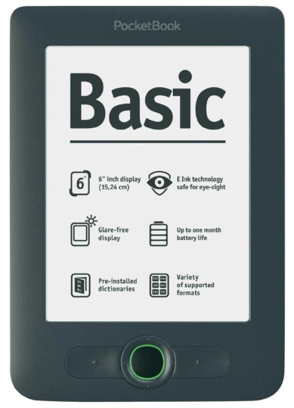 "Электронная книга PocketBook Basic 613, 800МГц, 2GB, 6"" 800*600, CHM/DOC/DjVu/FB2/HTML/PDF/TXT, SD-micro, Linux, 123*176*10мм 180г, серый"