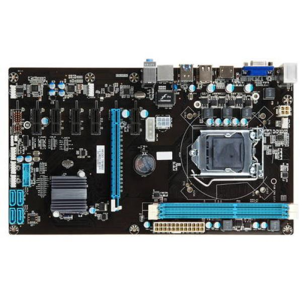 Материнская плата S1150 Esonic H81-BTC-KING, H81, 2DIMM DDR3 1600, PCI-Ex16, 5*PCI-Ex1, HDMI/VGA, 4SATAIII, Звук 7.1, 4USB2.0, LAN, ATX, для майнинга