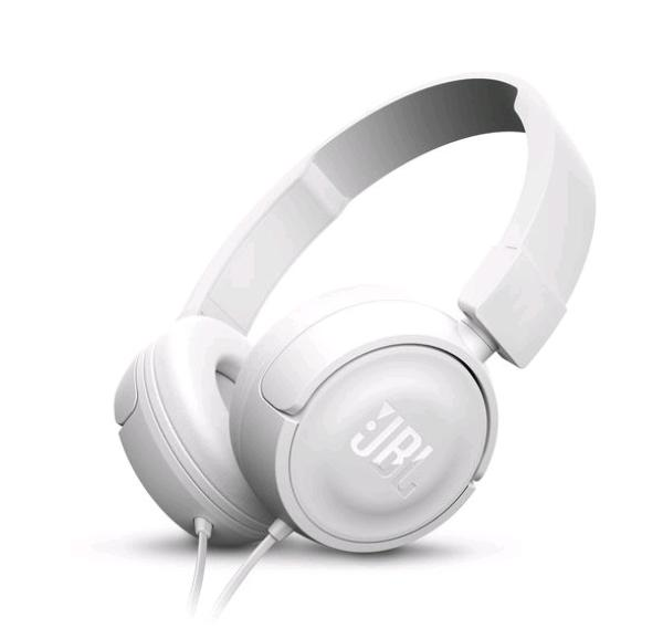 Наушники с микрофоном проводные дуговые закрытые JBL T450, 20..20000Гц, кабель 1.2м, MiniJack, регулировка громкости, динамические, белый