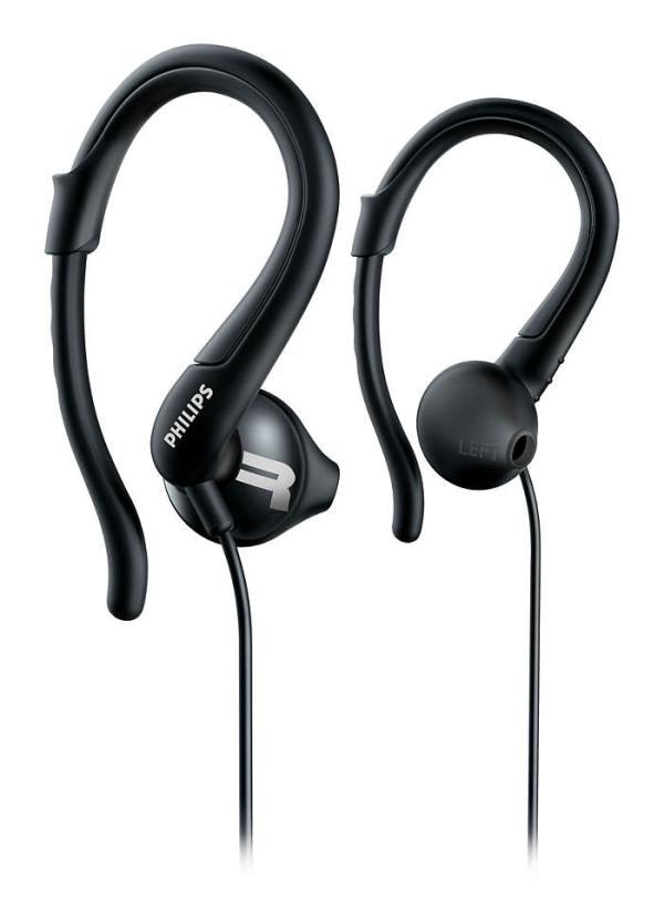 Наушники проводные вставные Philips ActionFit SHQ1250TBK/00, 15..22000Гц, кабель 1м, MiniJack, динамические, для спорта, черный
