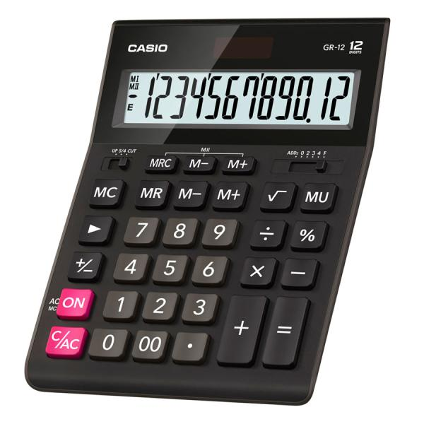 Калькулятор настольный Casio GR-12, 12 разрядов, двойное питание, черный