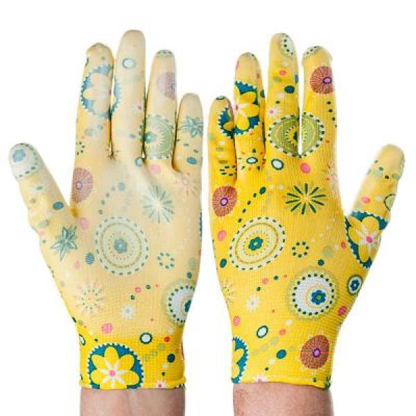 Перчатки INBLOOM, садовые нейлоновые с нитриловым полуобливом, полиэстер, 9 размер, 23см, 31гр, цветные