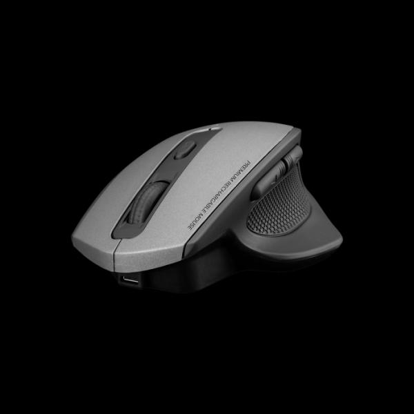 Мышь беспроводная оптическая JETAccess R250G, USB, 6 кнопок, колесо, FM, 1600/1200/800dpi, аккумулятор, серый-черный