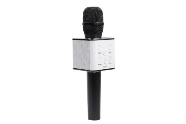 Микрофон караоке беспроводной Q7 Black, 6Вт, 100..10000Гц, Bluetooth 4.1, MiniJack/MicroUSB/USB, эффекты, Li-ion/2200мАч/5ч, черный-белый