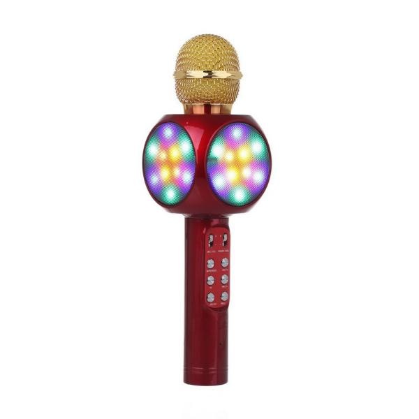 Микрофон караоке беспроводной WS1816 Red, 5Вт, 100..10000Гц, Bluetooth 4.0/FM, MiniJack/MicroUSB/USB/MicroSD, Led подсветка/эффекты/запись, Li-ion/1800мАч/5ч, красный