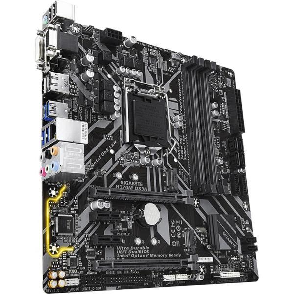 Материнская плата S1151v2 GIGABYTE H370MDS3H, 4*DDR4 2666 Dual Channel, 2*PCI-E3.0x16, 2*PCI-E3.0x1, DP/HDMI/DVI/VGA, 6*SATAIII RAID(5), 2*M.2, Звук 7.1, USB3.0/USB2.0, USB-C, LAN1Gb, mATX