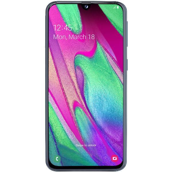 "Смартфон 2*sim Samsung Galaxy A40 (SM-A405FZKGSER), Samsung 8*1.8ГГц, 64GB 4GB, AMOLED 5.9"" 2340*1080, SD-micro, 4G, WiFi 5ГГц, NFC, 3 камеры 16+5/25Мпикс, Android 9, 3100мАч, 69*144*7.9мм, черный"