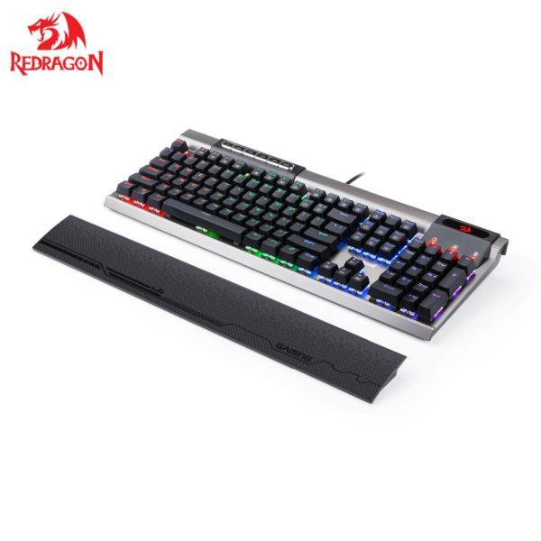 Клавиатура Redragon Surya, USB, Multimedia 6 кнопок, влагозащищенная, механическая, подсветка, подставка для запястий, программируемая, серебристый-черный, 75061
