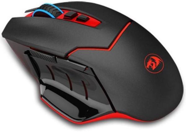 Мышь беспроводная лазерная Redragon Mirage, USB, 8 кнопок, колесо <>, FM 15м, 4800/800dpi, 1*AA, подсветка, программируемая, черный-красный, 74847