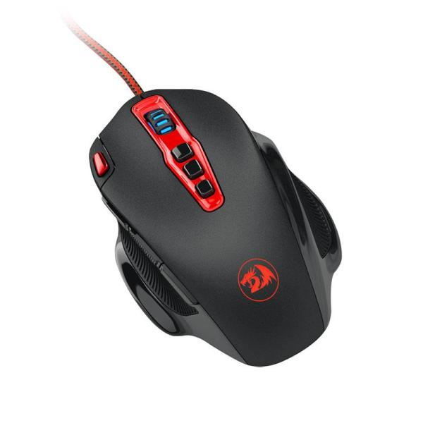 Мышь оптическая Redragon Hydra, USB, 10 кнопок, колесо <>, 14400/100dpi, подсветка, программируемая, регулировка веса, черный-красный, 74762