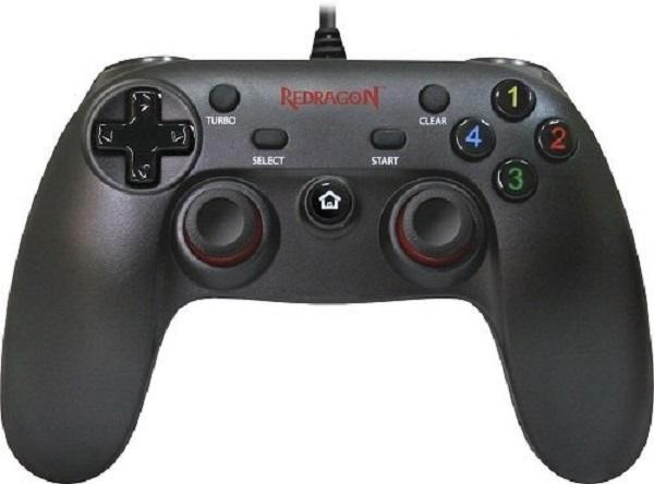 Игровой манипулятор GamePad для PC/PS3 Redragon Saturn, USB, вибрация, 4 позиции, 9 кнопок, 2 аналоговых джойстика, 4 триггера, черный, 64225