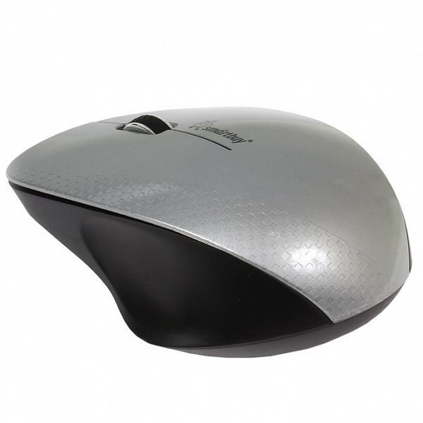 Мышь беспроводная оптическая Smartbuy 309AG (SBM-309AG-SK), USB, 3 кнопки, колесо, FM 10м, 1000dpi, 1*AА, серебристый-черный
