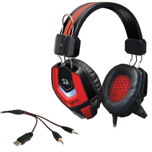 Наушники с микрофоном проводные дуговые закрытые Redragon RIDLEY, 16..20000Гц, кабель 2.2м, USB/2*MiniJack, регулятор громкости/подсветка, игровые, черный-красный