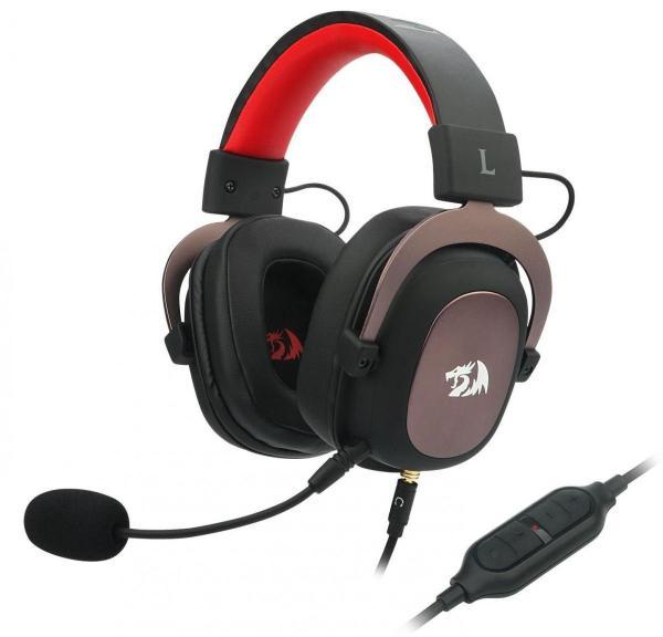 Наушники с микрофоном проводные дуговые закрытые Redragon Zeus, 53мм, 20..20000Гц, кабель 2.2м, USB/2*MiniJack, регулятор громкости, эффект звука 7.1/отключение микрофона, игровые, черный