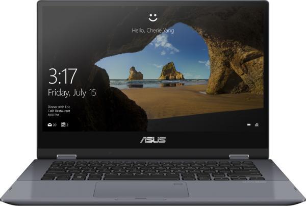 """Ноутбук сенсорный 14"""" ASUS TP412FA-EC234RA, Core i5-8265U 1.6 8GB 256GB SSD 1920*1080 USB3.1 USB-C WiFi BT HDMI камера стилус 1.45кг W10Pro серый"""