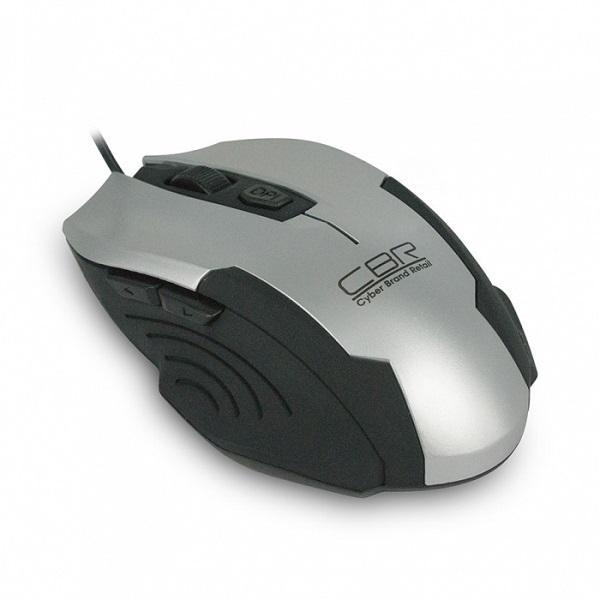 Мышь оптическая CBR CM 333, USB, 6 кнопок, колесо, 2400/1600/1200dpi, черный-серебристый