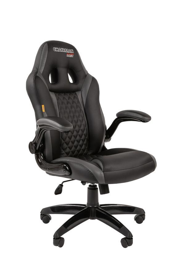 Кресло геймерское Chairman game 15, черно-серый, экокожа, эргономичное, механизм качания ASIN, подлокотники закругленные, крестовина - пластик, регулировка высоты-газлифт, до 120кг