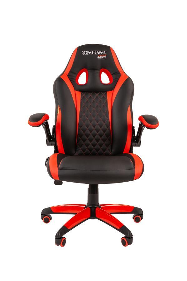 Кресло геймерское Chairman game 15, черно-красный, экокожа, эргономичное, механизм качания TG, закругленные подлокотники, крестовина - пластик, регулировка высоты-газлифт, до 120кг