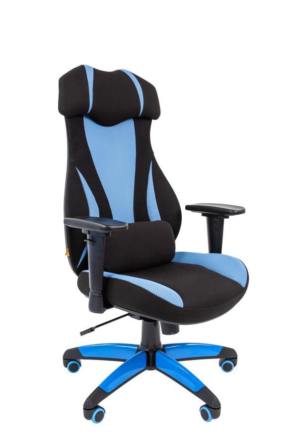 Кресло геймерское Chairman game 14, черный-голубой, ткань, эргономичное, механизм качания ASIN, Т-образные подлокотники, крестовина - пластик, регулировка высоты-газлифт, до 120кг