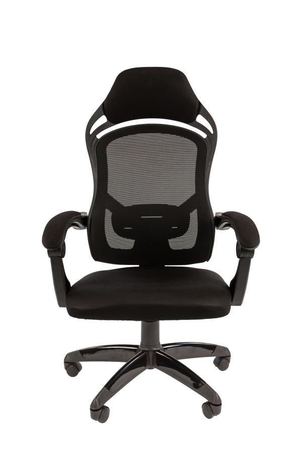 Кресло геймерское Chairman game 12, черный, ткань, эргономичное, механизм качания ASIN, Т-образные подлокотники, крестовина - пластик, регулировка высоты-газлифт, до 120кг