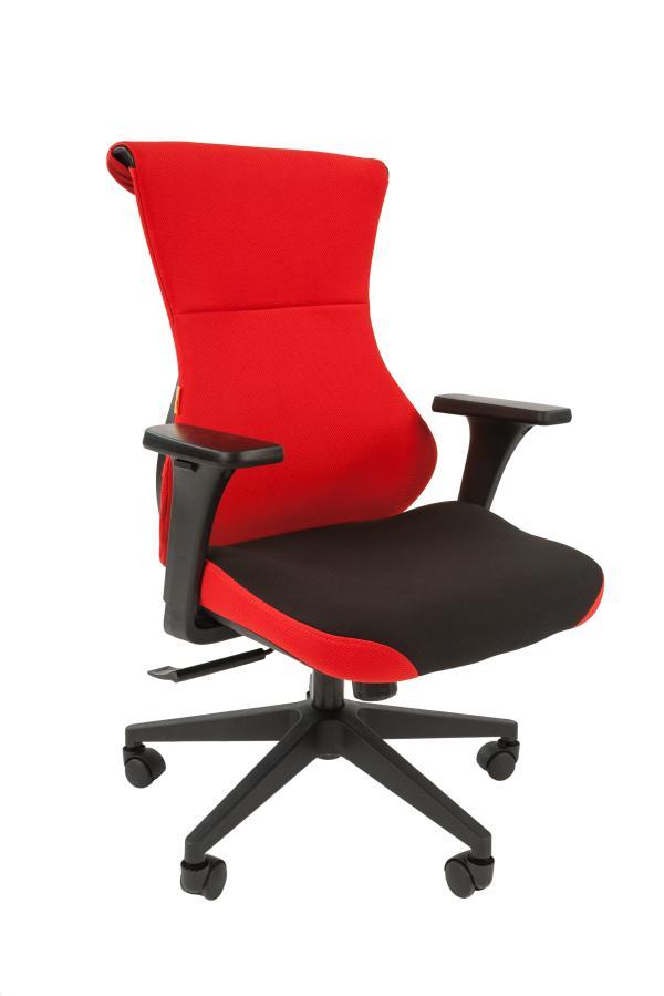 Кресло геймерское Chairman game 10, черно-красный, ткань, эргономичное, механизм качания ASIN, Т-образные подлокотники, крестовина - пластик, регулировка высоты-газлифт, до 120кг