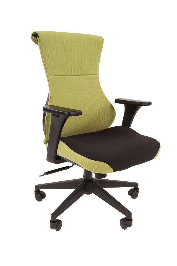 Кресло геймерское Chairman game 10, черно-зеленый, ткань, эргономичное, механизм качания ASIN, Т-образные подлокотники, крестовина - пластик, регулировка высоты-газлифт, до 120кг