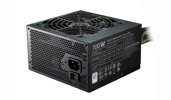 БП для корпуса ATX CoolerMaster MPX-7001-ACABWES, 700Вт, 80 PLUS, 20+4pin, 4+4pin(CPU)/ 4*6+2pin(PCI-E)/ 3*4pin(molex)/ 6*SATA, 120*120мм, Active PFC