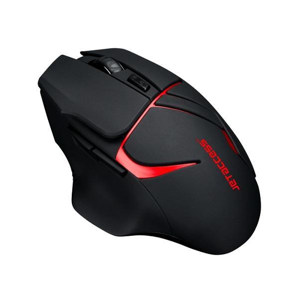 Мышь беспроводная оптическая JETAccess Comfort OM-U64G, USB, 6 кнопок, колесо, FM 10м, 1600/1200/800dpi, 1*AA, черный-красный