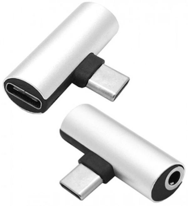 Переходник Ritmix RCC-034, USB-C-MiniJack+USB-C, серый