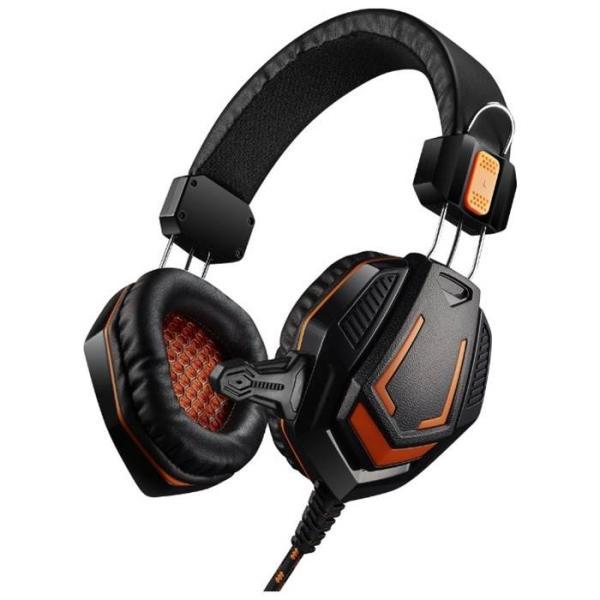 Наушники с микрофоном проводные дуговые закрытые Canyon Fobos CND-SGHS3A, 50мм, 20..20000Гц, кабель 2м, 2*MiniJack/MiniJack(4pin), регулятор громкости, игровые, черный-оранжевый