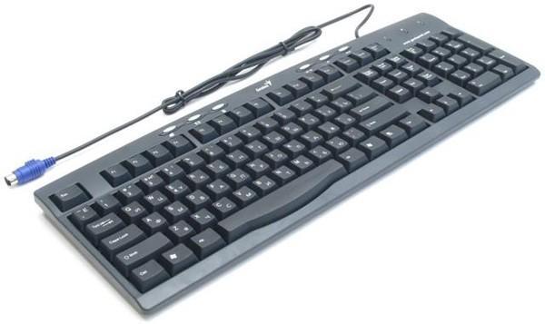 Клавиатура Genius KB-200, PS/2, эргономичная, Multimedia 6 кнопок, Slim, черный