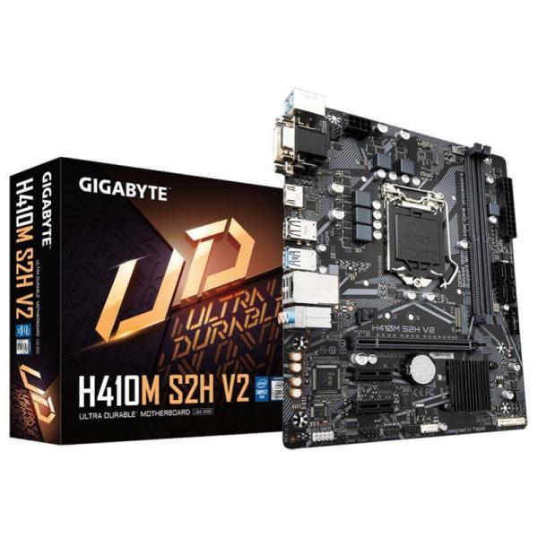 Материнская плата S1200 GIGABYTE H410M S2H V2, H410, 2*DDR4 2933 Dual Channel, PCI-E3.0x16, 2*PCI-E2.0x1, HDMI/DVI/VGA без видео, 4*SATAIII, M.2, Звук 7.1, 2*USB3.0/2*USB2.0, LAN1Gb, mATX
