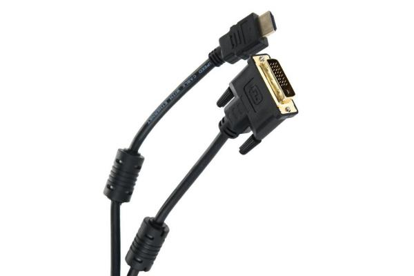 Кабель HDMI штырь - DVI штырь  5м TV-Com LCG135F-5M, ферритовые кольца, черный