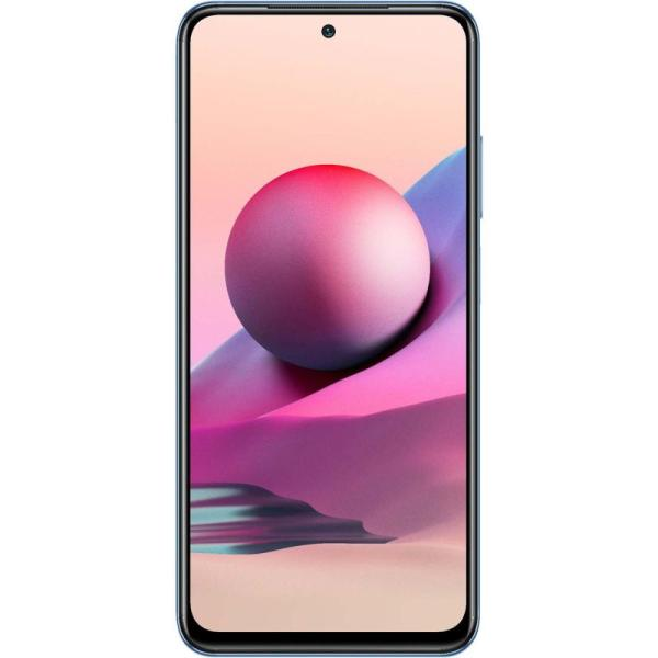 "Смартфон 2*sim Xiaomi Redmi Note 10S, MTK 8*2.05ГГц, 128GB 6GB, AMOLED 6.43"" 2400*1080, SDHC-micro, 4G, GPS, BT, WiFi, NFC, 5 камер 64+8+2+2/13Мпикс, IP53, Android, 5000мАч, 75*159*8мм 186г, синий"