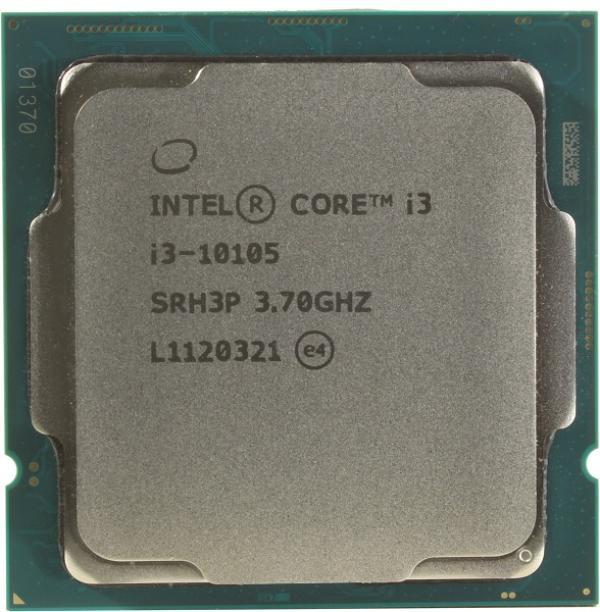 Процессор S1200 Intel Core i3-10105 3.7ГГц, 4*256KB+6MB, 8ГТ/с, Comet Lake 0.014мкм, видео 1100МГц, 65Вт