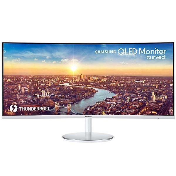 """Монитор ЖК 34"""" Samsung C34J791WTI, 3440*1440, 21:9, 300кд, 3000:1, 4мс, VA, 178/178, Thunderbolt/DisplayPort/2*HDMI, изогнутый, колонки, рег. высоты, серебро"""