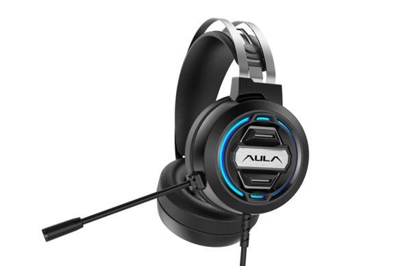 Наушники с микрофоном проводные дуговые закрытые AULA S603 USB, 50мм, 20..20000Гц, кабель 2.1м, USB, подсветка, игровые, черный