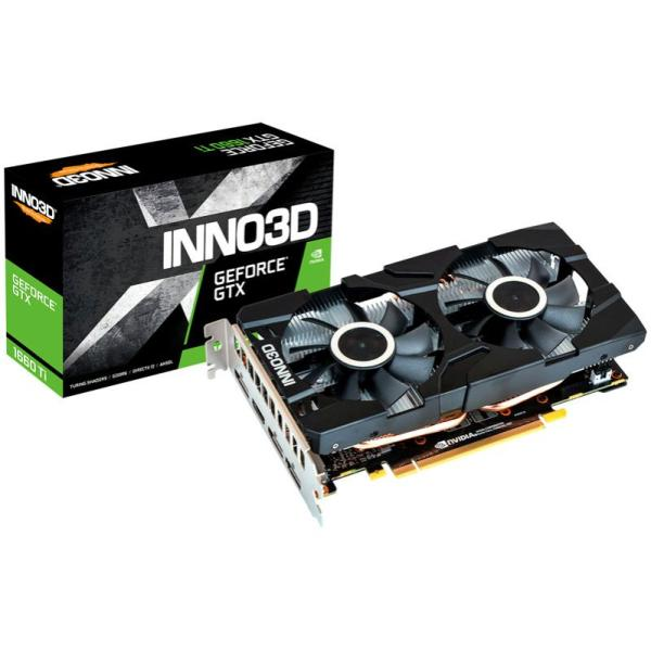 Видеокарта PCI-E GeForce GTX1660 Ti Inno3D GTX 1660 TI TWIN X2 (N166T2-06D6-1710VA15), 6GB GDDR6 192bit 1770/12000МГц, PCI-E3.0, 3*DisplayPort/HDMI, 120Вт