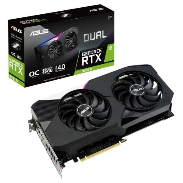 Видеокарта PCI-E ASUS DUAL-RTX3060TI-O8G-V2, 8GB GDDR6 256bit 1710/14000Гц, PCI-E4.0, 3*DisplayPort/HDMI, 240Вт