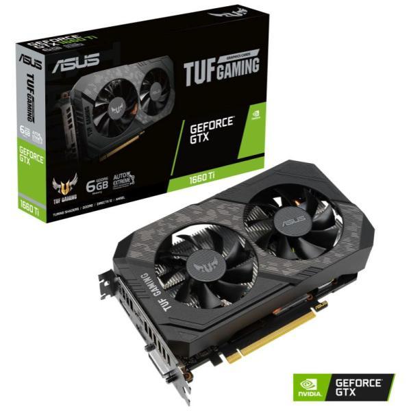 Видеокарта PCI-E GeForce GTX1660 Ti ASUS TUF-GTX1660TI-6G-EVO-GAMING, 6GB GDDR5 192bit 1500/12000МГц, PCI-E3.0, HDCP, DisplayPort/DVI/2*HDMI, 120Вт