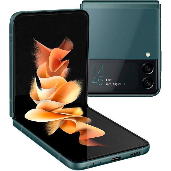 "Смартфон 2*sim Samsung Galaxy Z Flip3 SM-F711BZGASER, 8*2.9ГГц, 128GB 8GB, AMOLED 6.7"" 2640*1080, 5G, NFC, GPS, 3 камеры 12+12/10Мпикс, IPx8, 3300мАч, Android 11, 72.2*166*6.9мм 183г, зеленый"